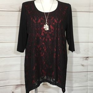 Black Lace Overlay Red Catherines Tunic Top 14/16W